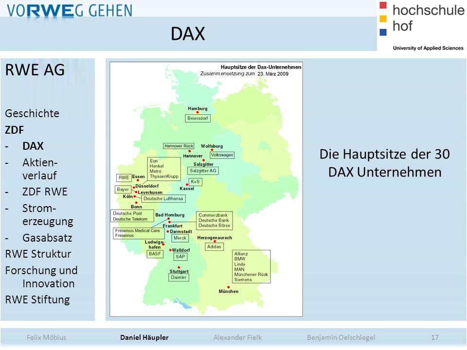 17 Die Hauptsitze der 30 DAX Unternehmen DAX Felix Möbius Daniel Häupler Alexander Fielk Benjamin Oelschlegel RWE AG Geschichte ZDF -DAX -Aktien- verl