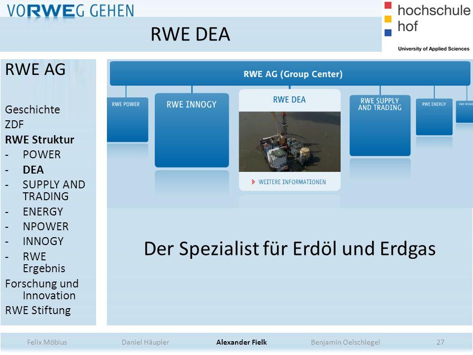 Der Spezialist für Erdöl und Erdgas 27 RWE DEA Felix Möbius Daniel Häupler Alexander Fielk Benjamin Oelschlegel RWE AG Geschichte ZDF RWE Struktur -PO