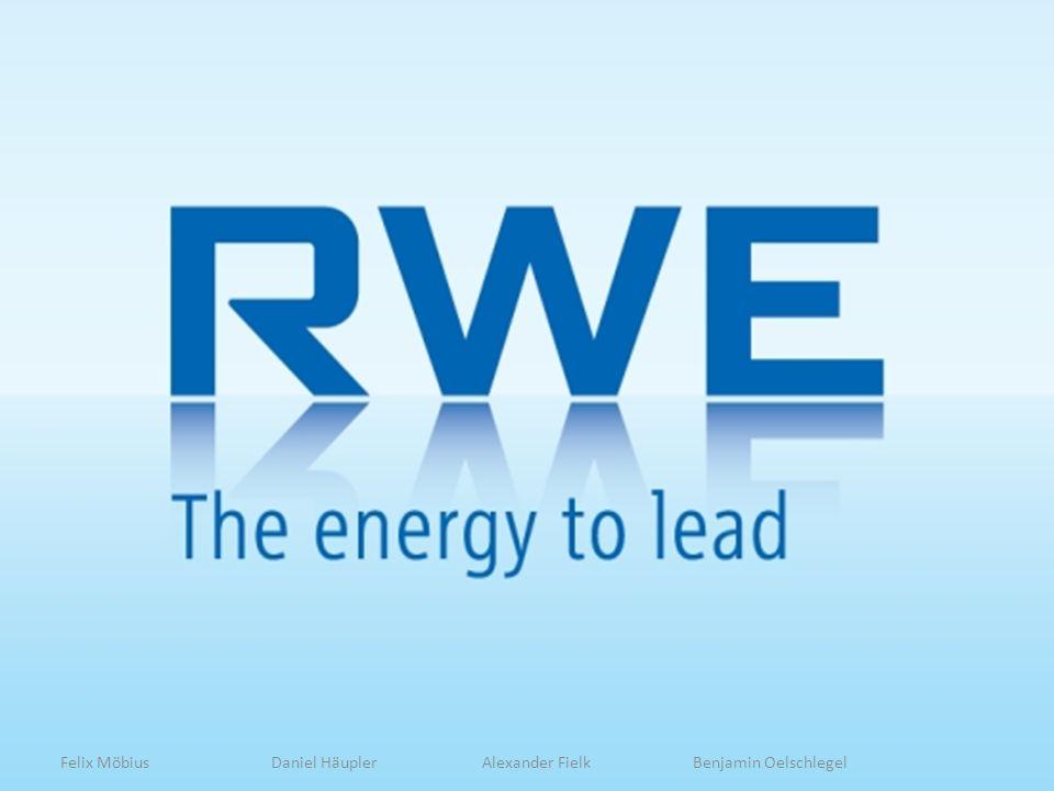 4 Geschichte -Gründung -Wachstum -RWE Heute -Sponsoring ZDF -DAX -Aktienverlauf -ZDF RWE -Stromerzeugung -Gasabsatz RWE Struktur -POWER -DEA -SUPPLY AND TRADING -ENERGY -NPOWER -INNOGY -RWE Ergebnis Forschung und Innovation -Algenprojekt Niederaußem RWE Stiftung -Allgemeines -Förderfelder Gliederung