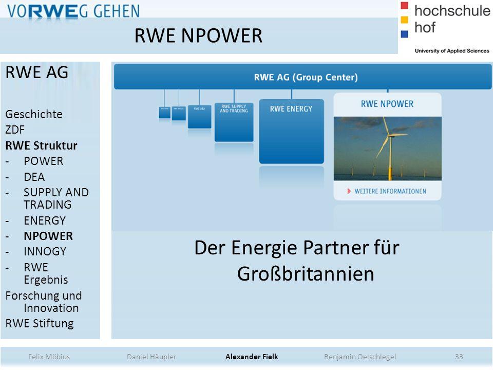 Der Energie Partner für Großbritannien 33 RWE NPOWER Felix Möbius Daniel Häupler Alexander Fielk Benjamin Oelschlegel RWE AG Geschichte ZDF RWE Strukt