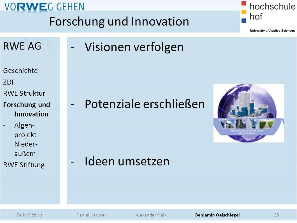 38 - Visionen verfolgen - Potenziale erschließen - Ideen umsetzen Forschung und Innovation RWE AG Geschichte ZDF RWE Struktur Forschung und Innovation