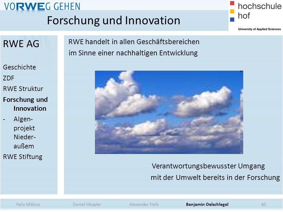 40 RWE handelt in allen Geschäftsbereichen im Sinne einer nachhaltigen Entwicklung Verantwortungsbewusster Umgang mit der Umwelt bereits in der Forsch