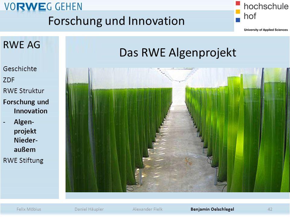 Das RWE Algenprojekt 42 Forschung und Innovation Felix Möbius Daniel Häupler Alexander Fielk Benjamin Oelschlegel RWE AG Geschichte ZDF RWE Struktur F