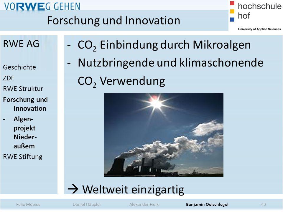 43 -CO 2 Einbindung durch Mikroalgen -Nutzbringende und klimaschonende CO 2 Verwendung Weltweit einzigartig Forschung und Innovation Felix Möbius Dani