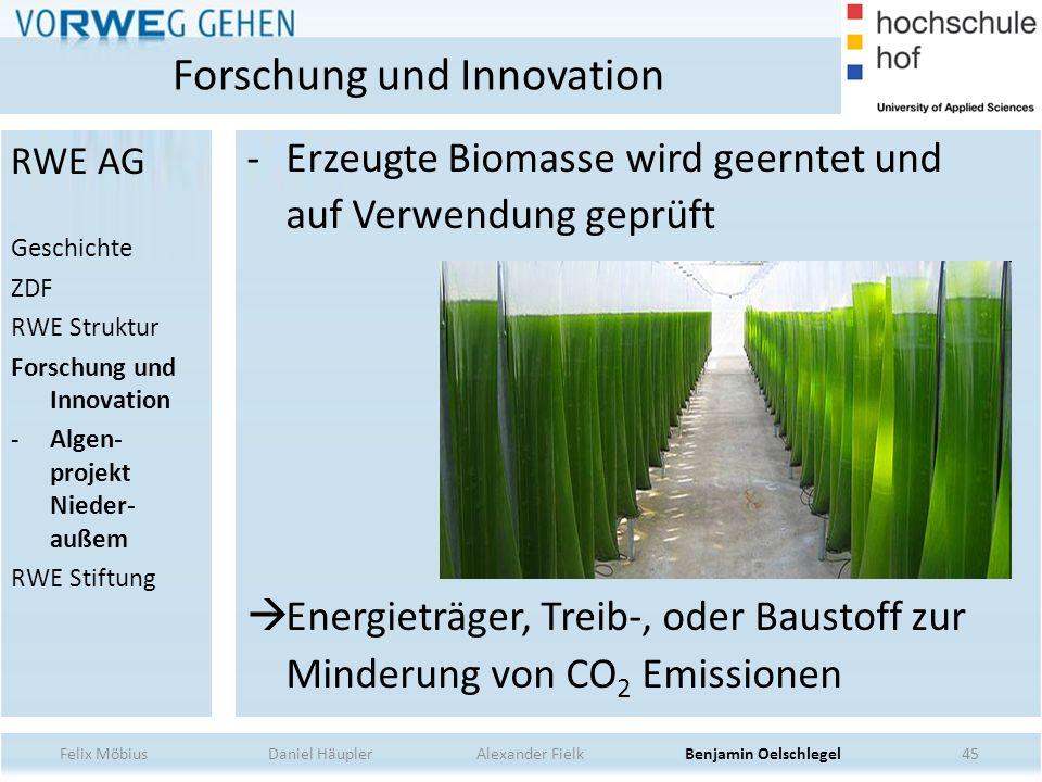 -Erzeugte Biomasse wird geerntet und auf Verwendung geprüft Energieträger, Treib-, oder Baustoff zur Minderung von CO 2 Emissionen 45 Forschung und In
