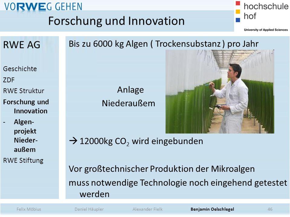 46 Anlage Niederaußem Bis zu 6000 kg Algen ( Trockensubstanz ) pro Jahr 12000kg CO 2 wird eingebunden Vor großtechnischer Produktion der Mikroalgen mu