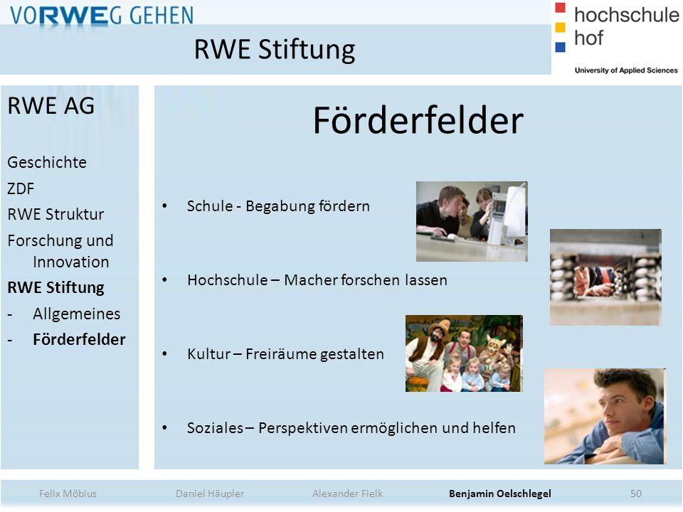 50 Förderfelder Schule - Begabung fördern Hochschule – Macher forschen lassen Kultur – Freiräume gestalten Soziales – Perspektiven ermöglichen und hel