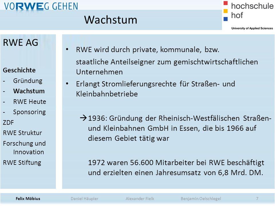 8 2000: RWE fusioniert mit Konkurrenten VEW Entwicklung zu Energieversorgungsunternehmen mit europäischem Fokus 2004: RWE Affäre 2005: Stromausfall beim Münsterländer Schneechaos RWE Heute Felix Möbius Daniel Häupler Alexander Fielk Benjamin Oelschlegel RWE AG Geschichte -Gründung -Wachstum -RWE Heute -Sponsoring ZDF RWE Struktur Forschung und Innovation RWE Stiftung