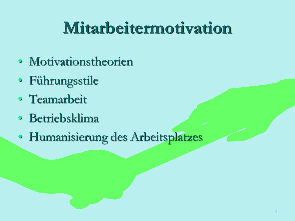 1 Mitarbeitermotivation MotivationstheorienMotivationstheorien FührungsstileFührungsstile TeamarbeitTeamarbeit BetriebsklimaBetriebsklima Humanisierun