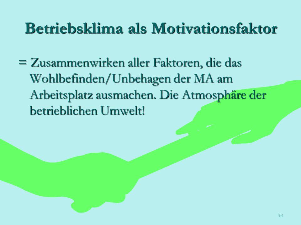 14 Betriebsklima als Motivationsfaktor = Zusammenwirken aller Faktoren, die das Wohlbefinden/Unbehagen der MA am Arbeitsplatz ausmachen. Die Atmosphär