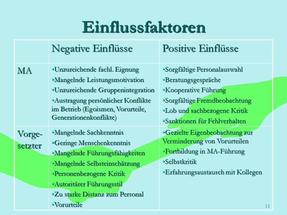 15 Einflussfaktoren Negative Einflüsse Positive Einflüsse MA Unzureichende fachl. EignungUnzureichende fachl. Eignung Mangelnde LeistungsmotivationMan