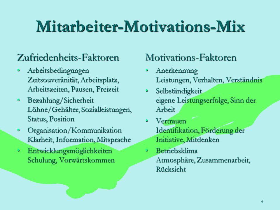 4 Mitarbeiter-Motivations-Mix Zufriedenheits-Faktoren Arbeitsbedingungen Zeitsouveränität, Arbeitsplatz, Arbeitszeiten, Pausen, FreizeitArbeitsbedingu