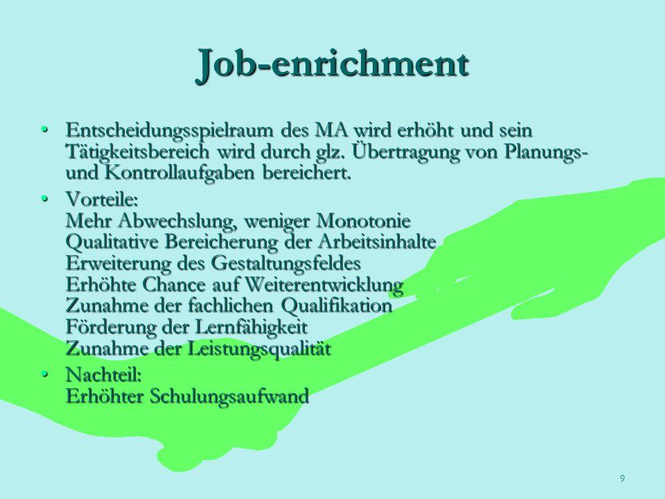 9 Job-enrichment Entscheidungsspielraum des MA wird erhöht und sein Tätigkeitsbereich wird durch glz. Übertragung von Planungs- und Kontrollaufgaben b