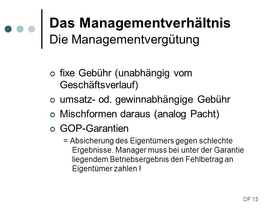OF 13 Das Managementverhältnis Die Managementvergütung fixe Gebühr (unabhängig vom Geschäftsverlauf) umsatz- od. gewinnabhängige Gebühr Mischformen da