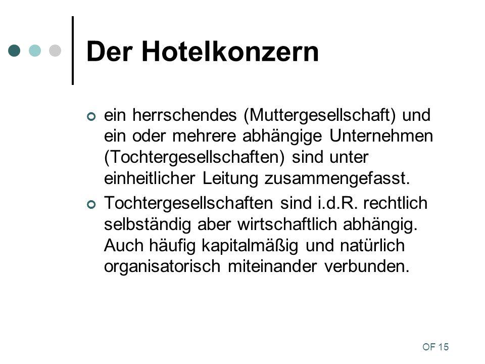 OF 15 Der Hotelkonzern ein herrschendes (Muttergesellschaft) und ein oder mehrere abhängige Unternehmen (Tochtergesellschaften) sind unter einheitlich