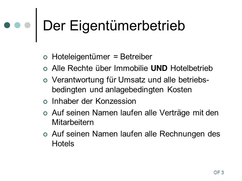 OF 3 Der Eigentümerbetrieb Hoteleigentümer = Betreiber Alle Rechte über Immobilie UND Hotelbetrieb Verantwortung für Umsatz und alle betriebs- bedingt