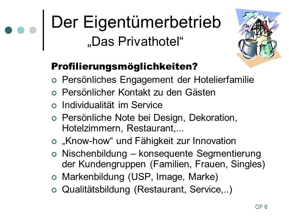 OF 6 Der Eigentümerbetrieb Das Privathotel Profilierungsmöglichkeiten? Persönliches Engagement der Hotelierfamilie Persönlicher Kontakt zu den Gästen