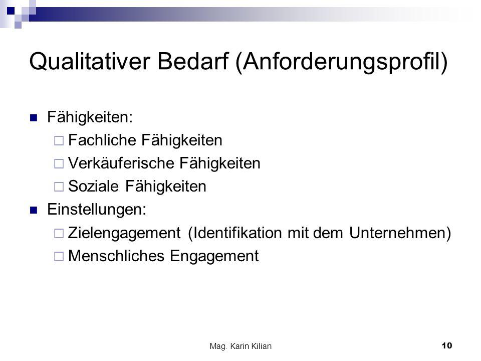 Mag. Karin Kilian10 Qualitativer Bedarf (Anforderungsprofil) Fähigkeiten: Fachliche Fähigkeiten Verkäuferische Fähigkeiten Soziale Fähigkeiten Einstel