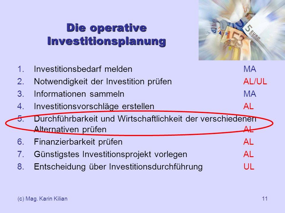 (c) Mag. Karin Kilian11 Die operative Investitionsplanung 1.Investitionsbedarf melden MA 2.Notwendigkeit der Investition prüfen AL/UL 3.Informationen