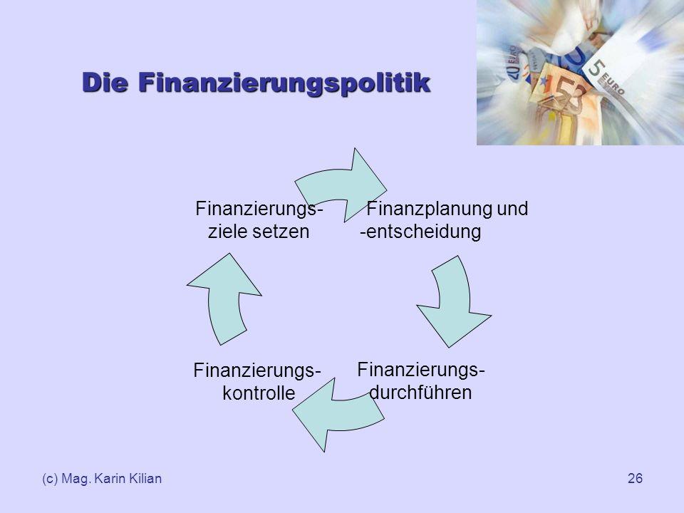 (c) Mag. Karin Kilian26 Die Finanzierungspolitik Finanzplanung und -entscheidung Finanzierungs- durchführen Finanzierungs- kontrolle Finanzierungs- zi