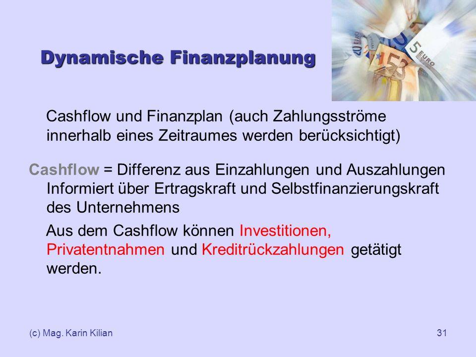 (c) Mag. Karin Kilian31 Dynamische Finanzplanung Cashflow und Finanzplan (auch Zahlungsströme innerhalb eines Zeitraumes werden berücksichtigt) Cashfl