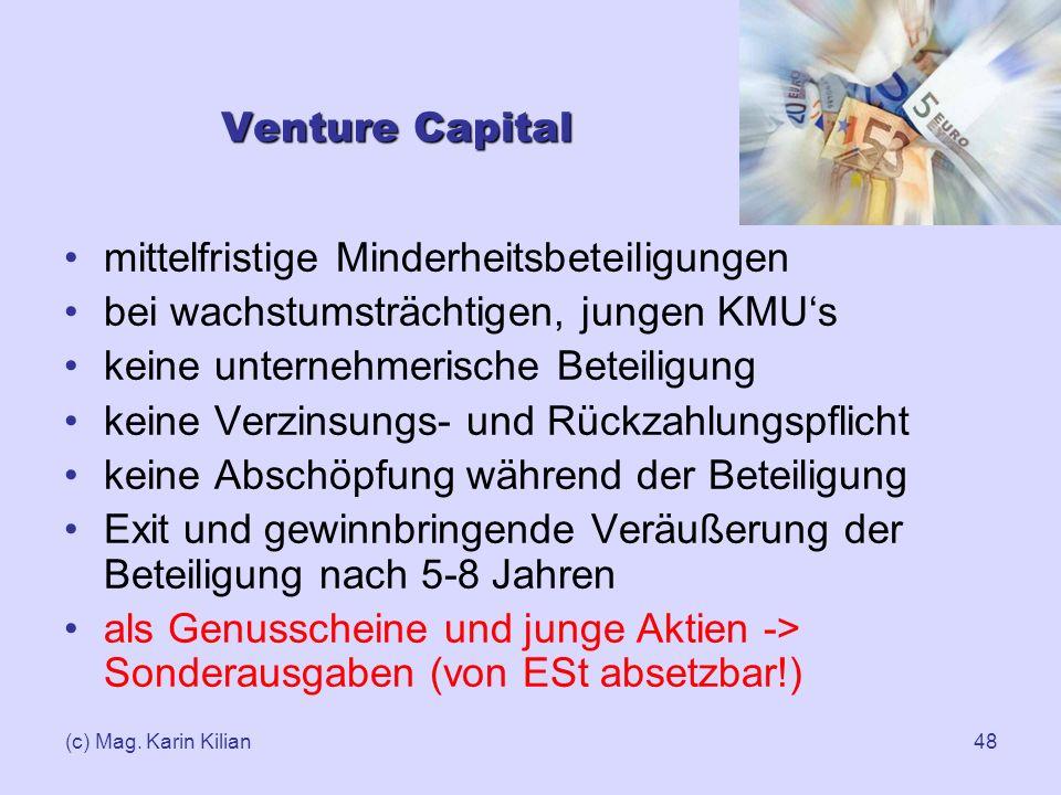 (c) Mag. Karin Kilian48 Venture Capital mittelfristige Minderheitsbeteiligungen bei wachstumsträchtigen, jungen KMUs keine unternehmerische Beteiligun