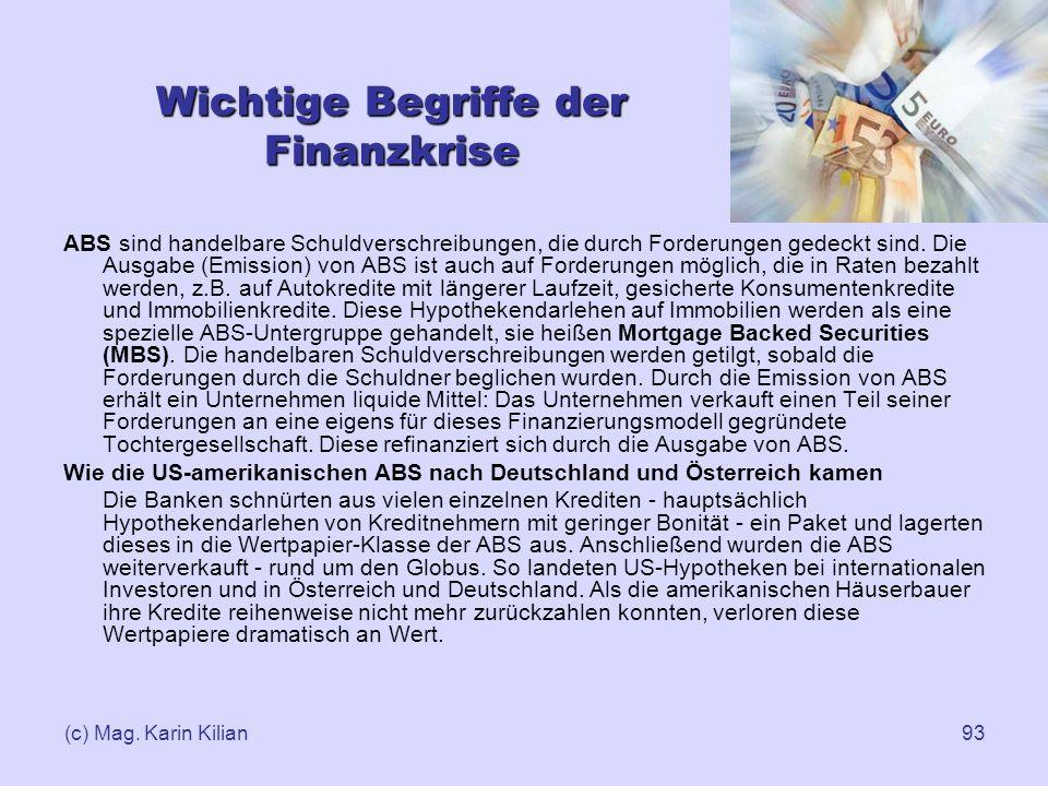 (c) Mag. Karin Kilian93 Wichtige Begriffe der Finanzkrise ABS sind handelbare Schuldverschreibungen, die durch Forderungen gedeckt sind. Die Ausgabe (