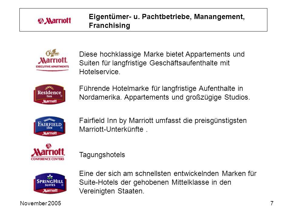 November 20057 Diese hochklassige Marke bietet Appartements und Suiten für langfristige Geschäftsaufenthalte mit Hotelservice.