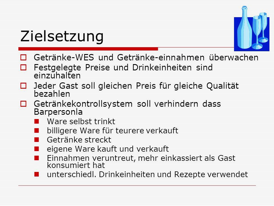 Voraussetzungen für Getränkekontrollsysteme Einkauf festgelegte Bestandsmengen je Bar permanente Getränkeinventur (jederzeit Soll-Bestand ablesbar) Berücksichtigung (Einkauf auf Abruf, Mengenrabatte, Lager- und Kapitalbindung) Abgestimmte Lagerräumlichkeiten (Temperatur, Anordnung,...)