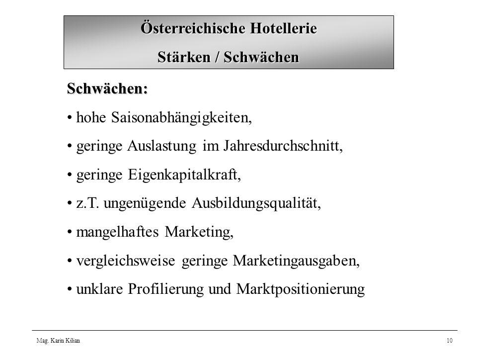 Mag. Karin Kilian10 Österreichische Hotellerie Stärken / Schwächen Schwächen: hohe Saisonabhängigkeiten, geringe Auslastung im Jahresdurchschnitt, ger