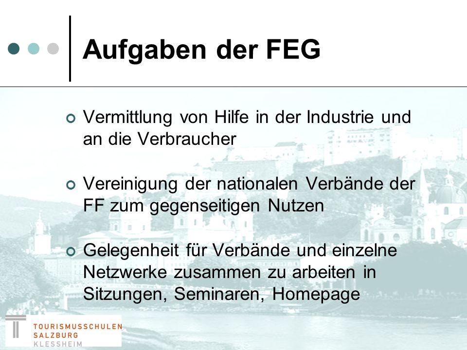 FEG Qualitätscharta Wurde von der WFTGA genehmigt Von allen Mitgliedern unterzeichnet Hilft Kunden genau zu verstehen, was sie von FF in ganz Europa zu erwarten haben.