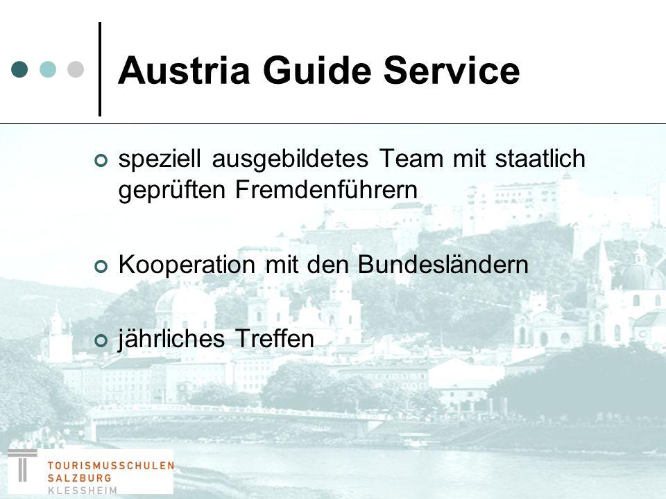 Salzburg Guide Service Vereinigung von über 100 staatlich geprüften Fremdenführern in Salzburg Vermittlungsposition Website
