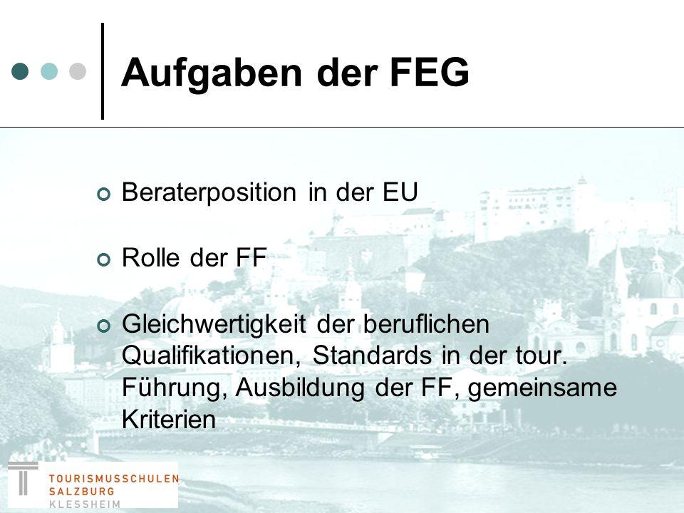Aufgaben der FEG Vermittlung von Hilfe in der Industrie und an die Verbraucher Vereinigung der nationalen Verbände der FF zum gegenseitigen Nutzen Gelegenheit für Verbände und einzelne Netzwerke zusammen zu arbeiten in Sitzungen, Seminaren, Homepage