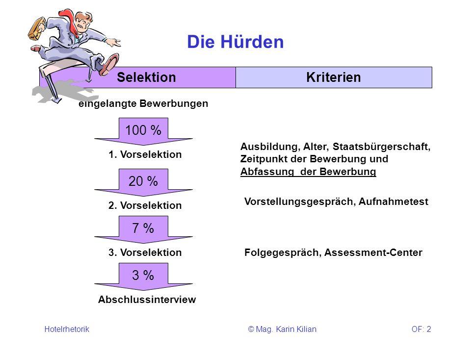 © Mag. Karin KilianHotelrhetorikOF: 2 Die Hürden SelektionKriterien 1. Vorselektion 100 % eingelangte Bewerbungen 20 % 2. Vorselektion Ausbildung, Alt