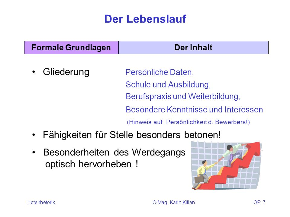 © Mag. Karin KilianHotelrhetorikOF: 7 Der Lebenslauf Gliederung Persönliche Daten, Schule und Ausbildung, Berufspraxis und Weiterbildung, Besondere Ke