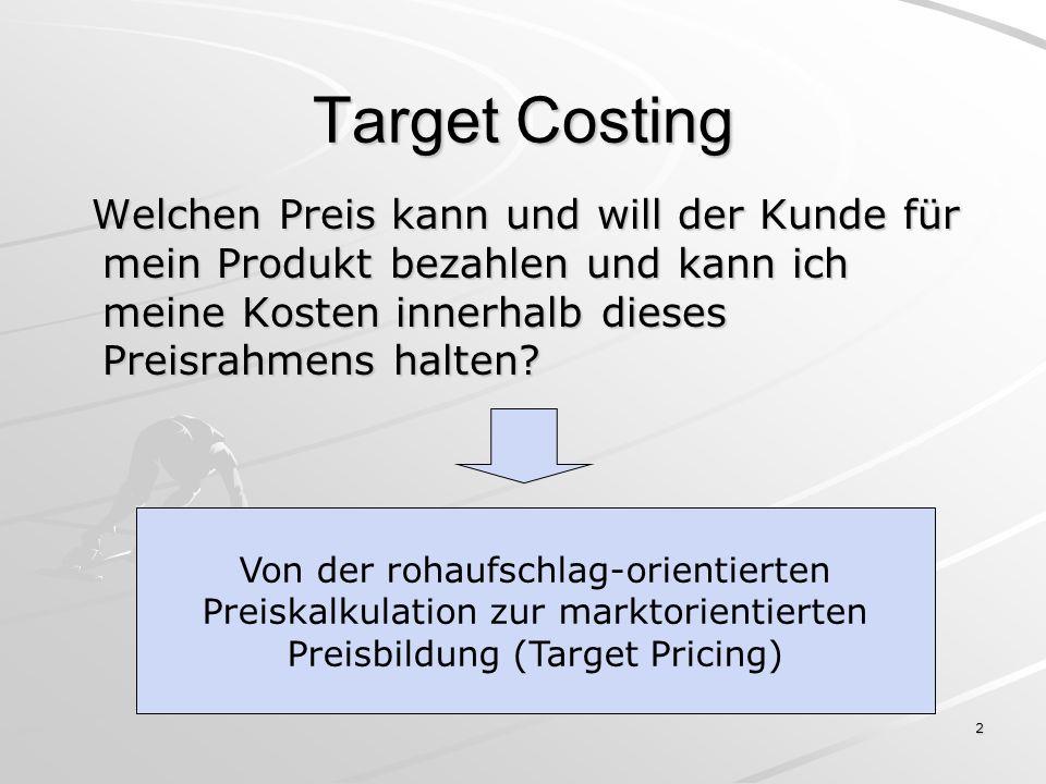 3 Target Gap Target Pricing Bestimmung des Marktpreises auf Basis der Kundenanforderungen Allowable Costs erlaubte maximale Kosten zur Erreichung des Zielgewinns Target Profit Reduktion des Preises um den geplanten Gewinn Drifting Costs tatsächliche, derzeitige Kosten Target Costs