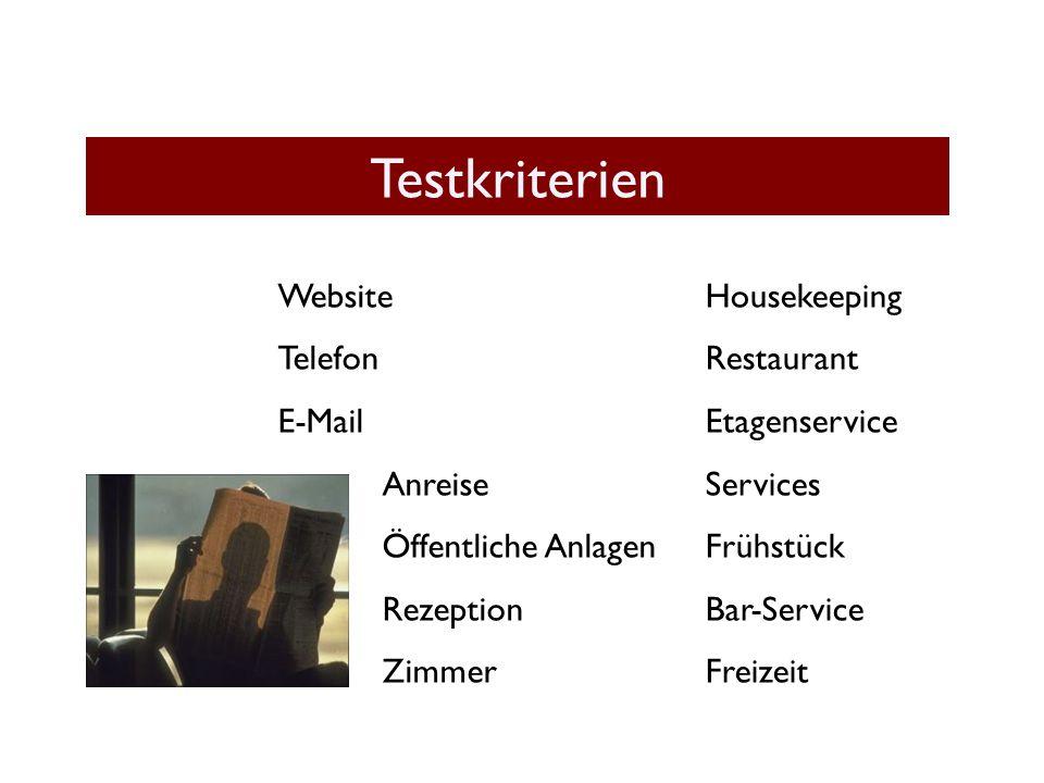 Testkriterien Website Telefon E-Mail Anreise Öffentliche Anlagen Rezeption Zimmer Housekeeping Restaurant Etagenservice Services Frühstück Bar-Service Freizeit