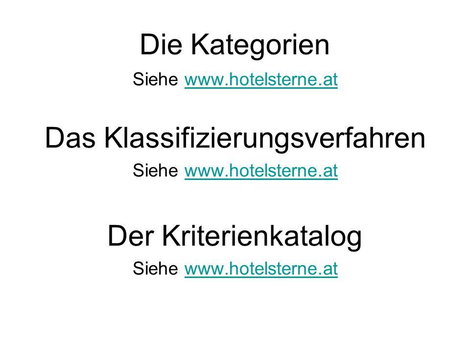 Die Kategorien Siehe www.hotelsterne.atwww.hotelsterne.at Das Klassifizierungsverfahren Siehe www.hotelsterne.atwww.hotelsterne.at Der Kriterienkatalog Siehe www.hotelsterne.atwww.hotelsterne.at