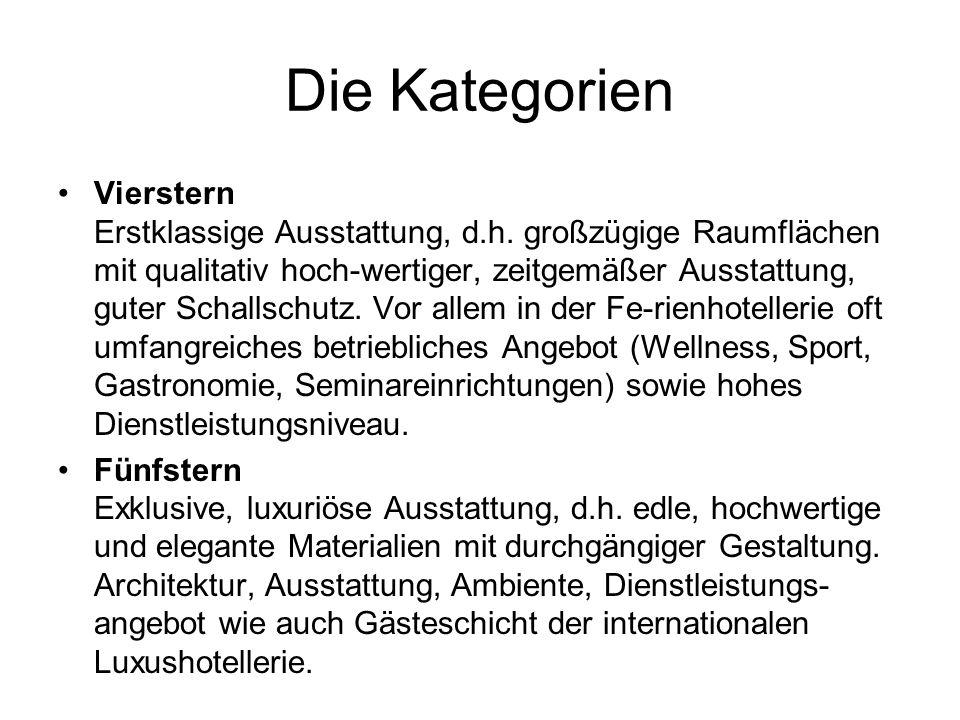 Die Kategorien Vierstern Erstklassige Ausstattung, d.h.