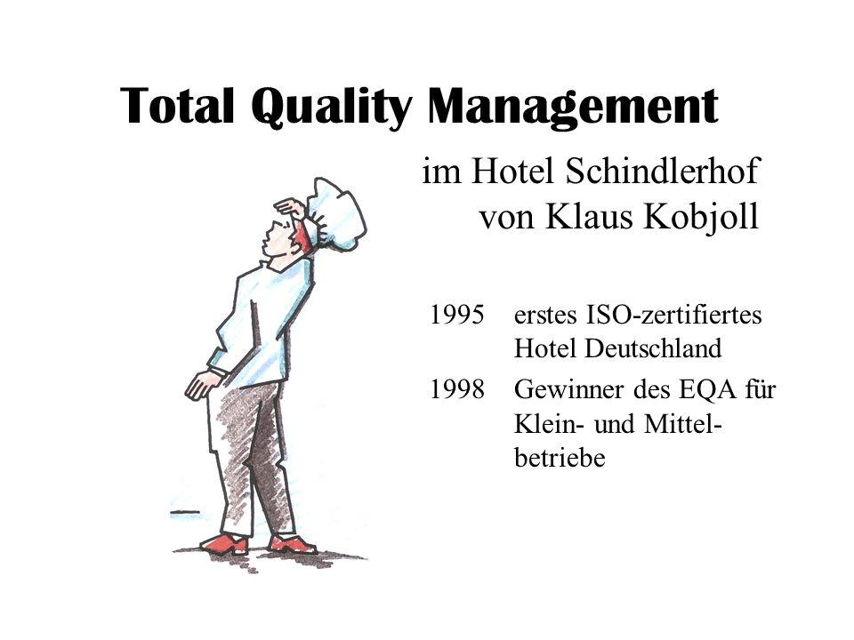 Total Quality Management 1995erstes ISO-zertifiertes Hotel Deutschland 1998Gewinner des EQA für Klein- und Mittel- betriebe im Hotel Schindlerhof von