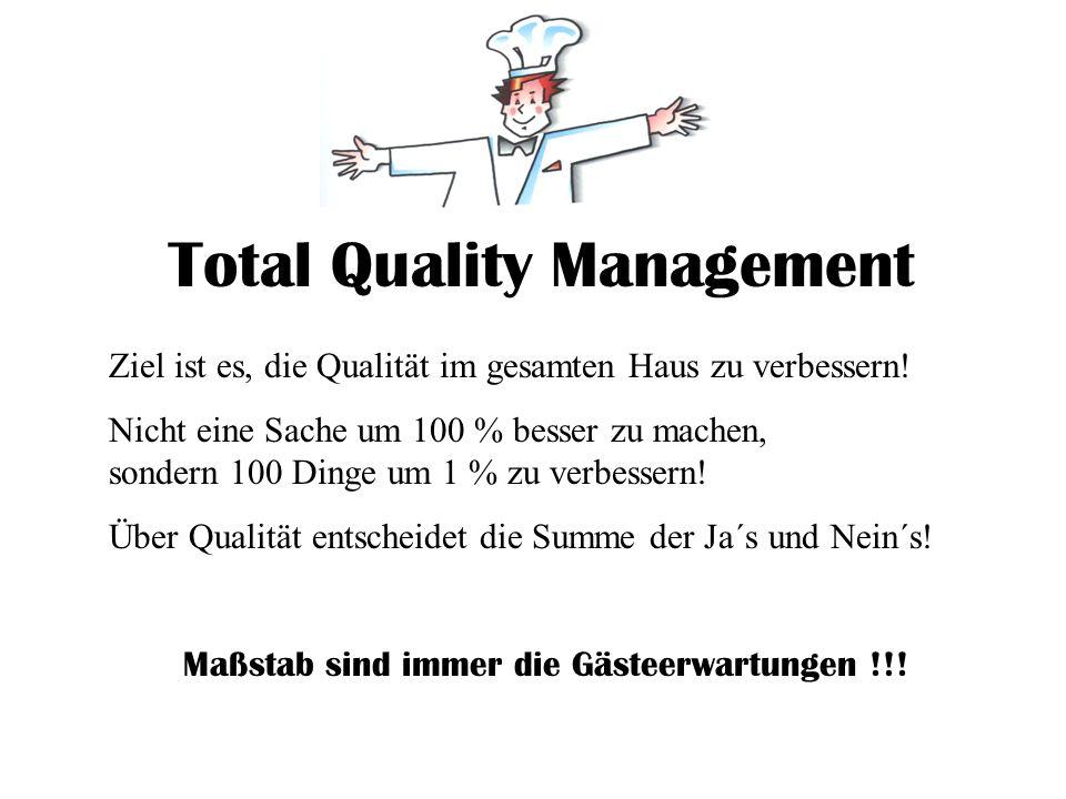 Total Quality Management Ziel ist es, die Qualität im gesamten Haus zu verbessern! Nicht eine Sache um 100 % besser zu machen, sondern 100 Dinge um 1