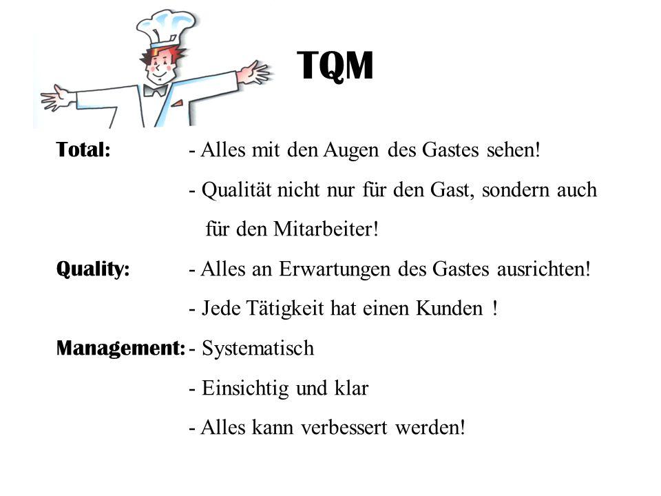 TQM Total: - Alles mit den Augen des Gastes sehen! - Qualität nicht nur für den Gast, sondern auch für den Mitarbeiter! Quality: - Alles an Erwartunge