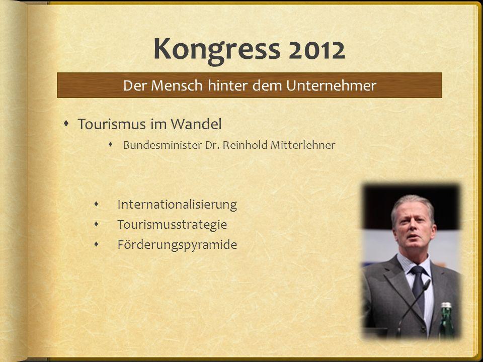 Kongress 2012 Tourismus im Wandel Bundesminister Dr. Reinhold Mitterlehner Internationalisierung Tourismusstrategie Förderungspyramide Der Mensch hint