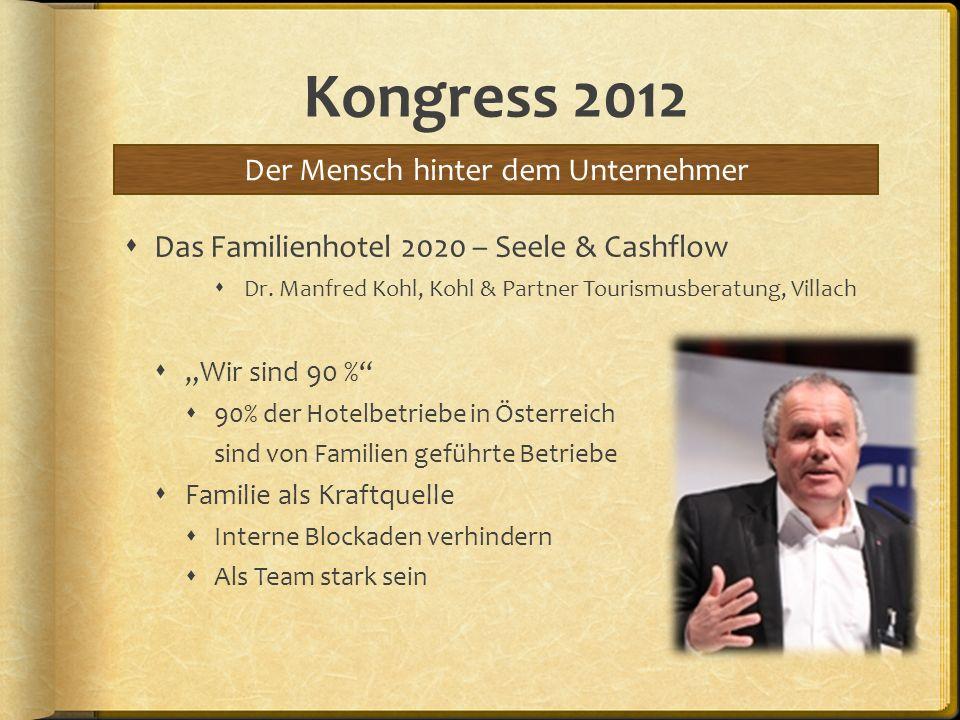 Kongress 2012 Das Familienhotel 2020 – Seele & Cashflow Dr. Manfred Kohl, Kohl & Partner Tourismusberatung, Villach Wir sind 90 % 90% der Hotelbetrieb