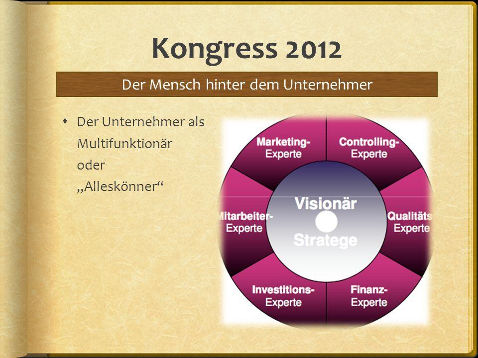 Kongress 2012 Der Unternehmer als Multifunktionär oder Alleskönner Der Mensch hinter dem Unternehmer