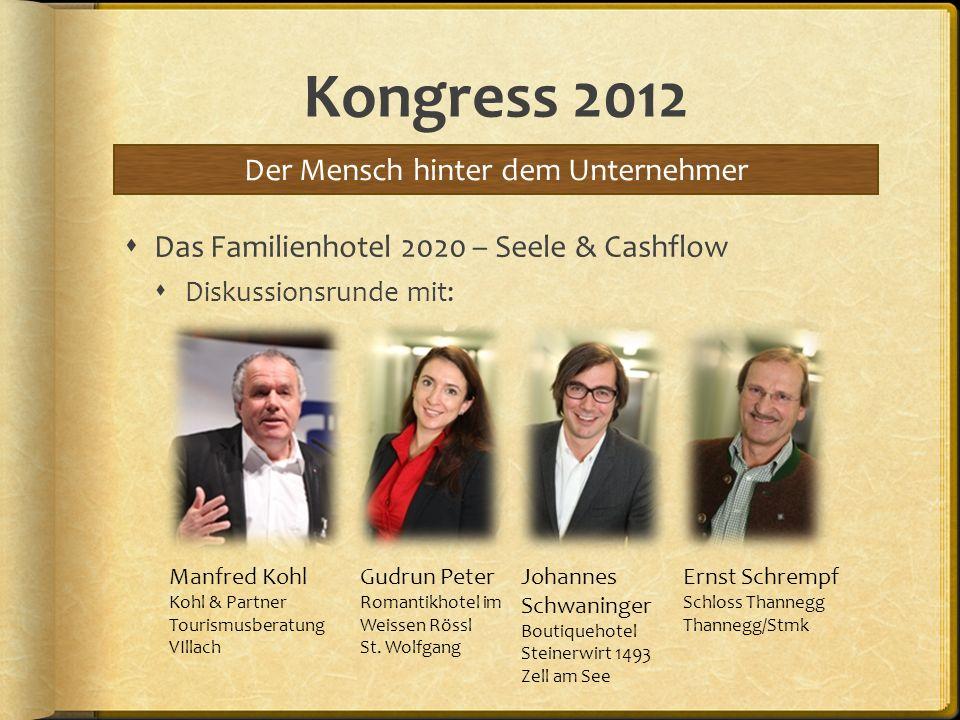 Kongress 2012 Das Familienhotel 2020 – Seele & Cashflow Diskussionsrunde mit: Der Mensch hinter dem Unternehmer Manfred Kohl Kohl & Partner Tourismusb