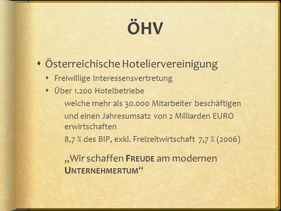 ÖHV Österreichische Hoteliervereinigung Freiwillige Interessensvertretung Über 1.200 Hotelbetriebe welche mehr als 30.000 Mitarbeiter beschäftigen und
