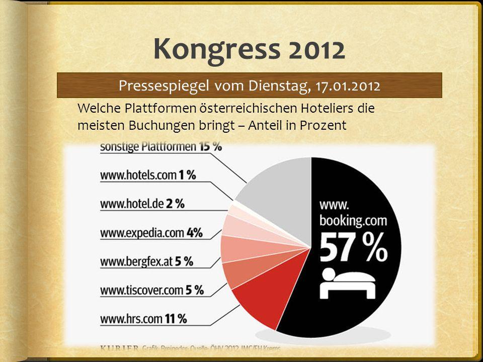 Kongress 2012 Pressespiegel vom Dienstag, 17.01.2012 Welche Plattformen österreichischen Hoteliers die meisten Buchungen bringt – Anteil in Prozent