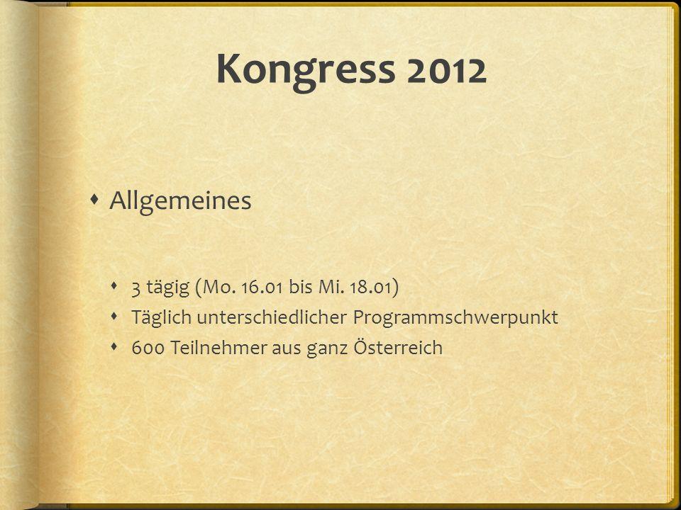 Kongress 2012 Allgemeines 3 tägig (Mo. 16.01 bis Mi. 18.01) Täglich unterschiedlicher Programmschwerpunkt 600 Teilnehmer aus ganz Österreich