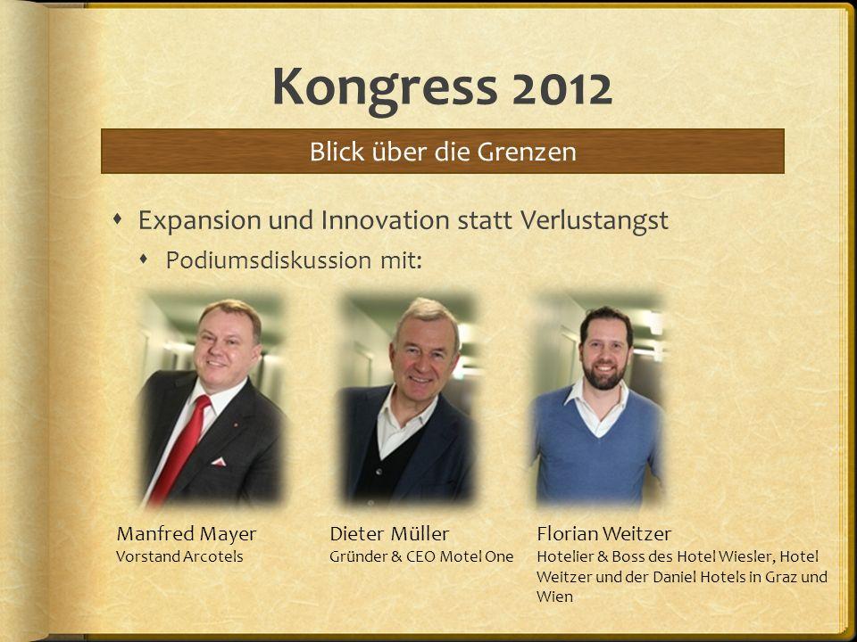 Kongress 2012 Expansion und Innovation statt Verlustangst Podiumsdiskussion mit: Blick über die Grenzen Manfred Mayer Vorstand Arcotels Dieter Müller